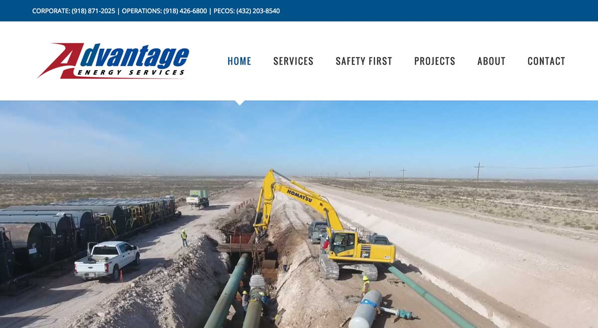 Image of the Advantage Energy Services website home page. Website design and website development by DigitaLemonade.