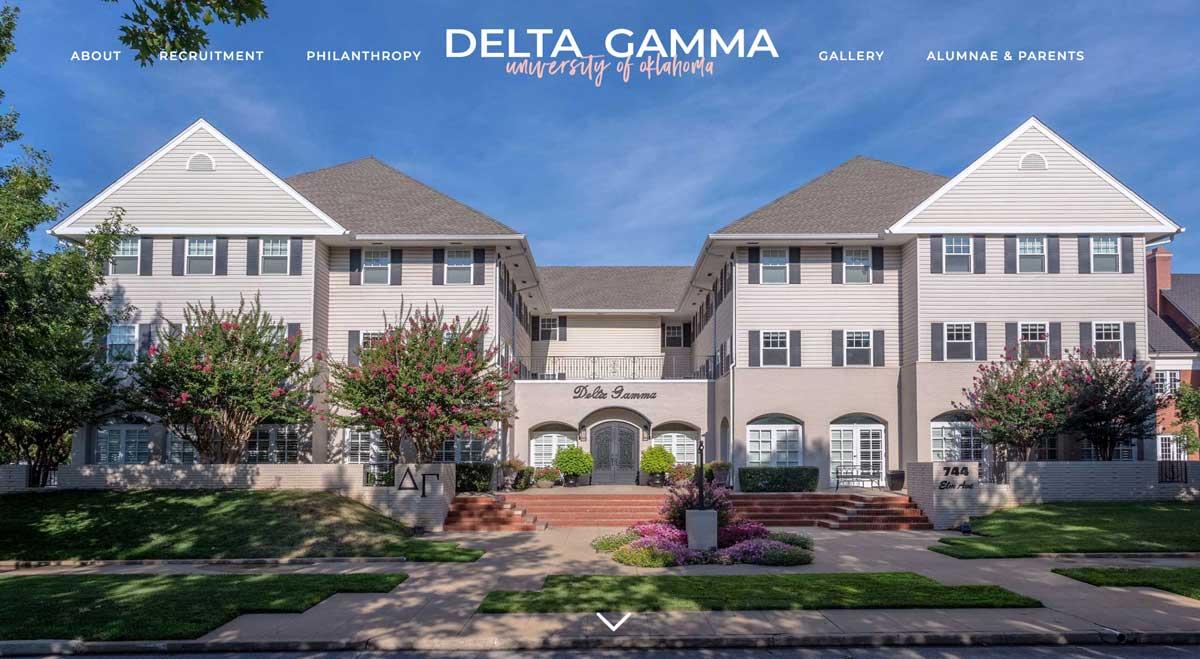 Image of the OU Delta Gamma website home page, designed by DigitaLemonade, website designers.